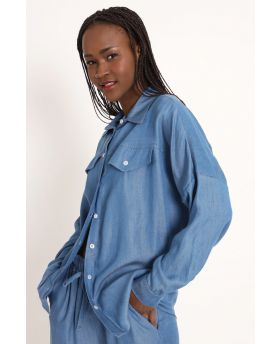 Bluse Tencel Over-Blu-Blau-Taglia Unica