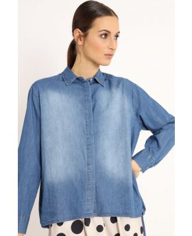 Camicia Over Jeans-Denim-Jeans-Taglia Unica