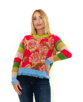 Pullover mit Rosenmuster