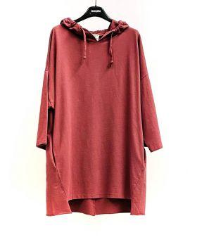 Kapuzensweatshirt Felpa lang-Rosso-Rot-S