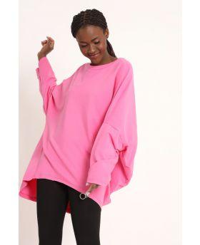 Felpa Zip-Fuchsia-Pink-Taglia Unica