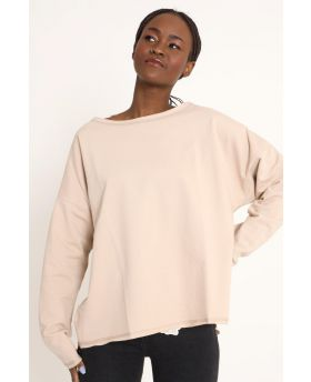 Sweatshirt Over-Beige-Taglia Unica