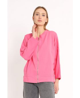 Sweatjacke Smile Zip-Fuchsia-Pink-Taglia Unica