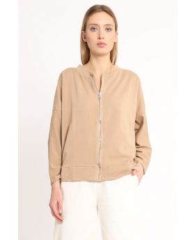 Sweatjacke Smile Zip-Caramello-Taglia Unica