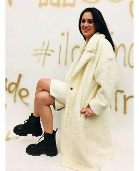 Mantel Fake Fur Over-Bianco-Weiss-XXS