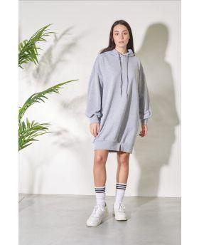 Kapuzensweater Over-Grigio-Grau-S