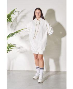 Kapuzensweater Over-Bianco-Weiss-S