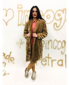 Mantel Fake Fur-Beige-S