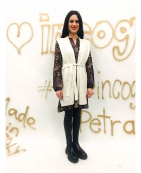 Long Cardigan mit Schulterpolster-Bianco-Weiss-Taglia Unica