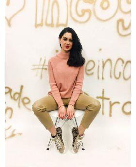 Pullover Lupetto Spacco-Rosa-Taglia Unica