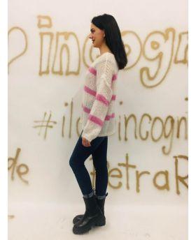 Pullover Righe-Beige-Taglia Unica