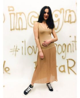 Kleid Plisse-Beige-Taglia Unica
