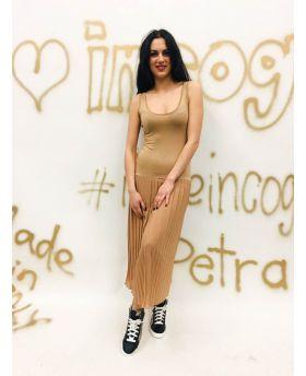 Kleid Plisse-Caramello-Taglia Unica
