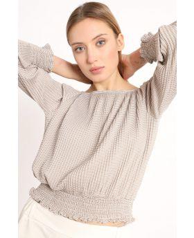 Shirt Plissee Rigato-Caramello-S-M