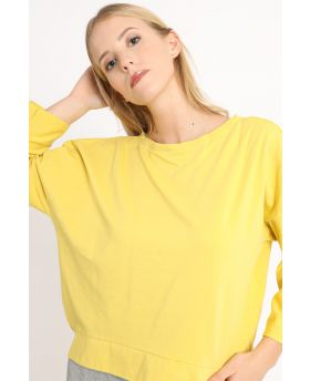 Sweatshirt Smile-Giallo-Gelb-Taglia Unica