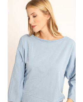 Sweatshirt Smile-Celeste-Hellblau-Taglia Unica