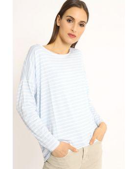 Shirt Over Rigato-Beige-Taglia Unica
