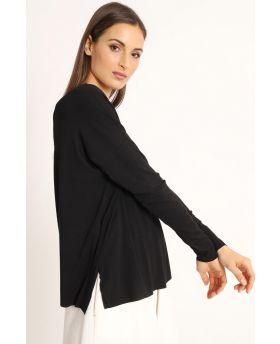 Shirt Kimono-Nero-Schwarz-Taglia Unica