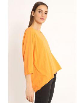 Shirt Raglan Over-Arancio-Orange-Taglia Unica