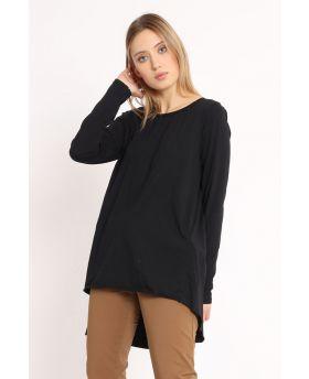 T-Shirt mit Rückenfalte-Nero-Schwarz-Taglia Unica