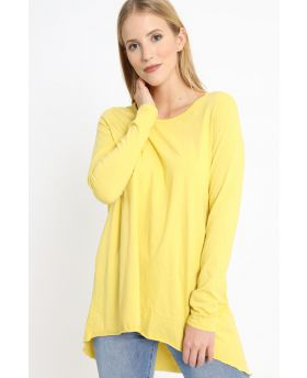 T-Shirt mit Rückenfalte-Giallo-Gelb-Taglia Unica