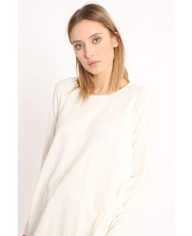 T-Shirt mit Rückenfalte-Bianco-Weiss-Taglia Unica