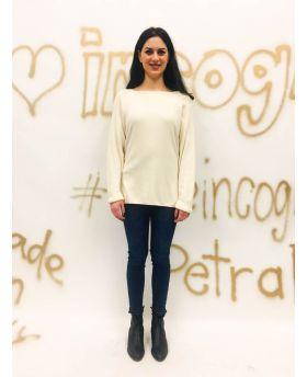 Pullover Collo Quadro-Bianco-Weiss-Taglia Unica
