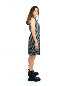Kleid Plissee gestreift-Nero-Schwarz-S-M