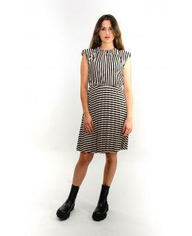 Kleid Plissee gestreift-Beige-S-M