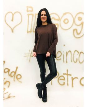 Sweatshirt Lupetto-Marrone-Braun-Taglia Unica