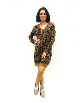 Kleid V-Neck Animal-Caramello-Taglia Unica