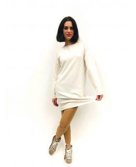 Strick Kleid mit Kragen-Bianco-Weiss-S-M