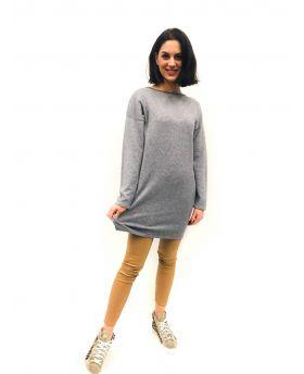 Strick Kleid mit Kragen-Antracite-Dunkelgrau-S-M