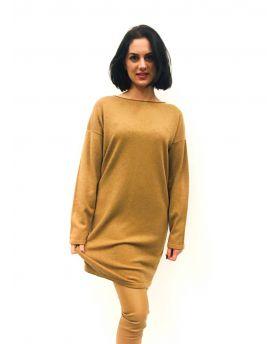 Strick Kleid mit Kragen-Caramello-S-M