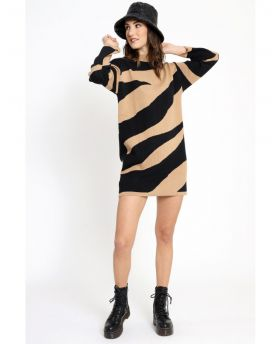 Strick Kleid two Colors -Caramello-Taglia Unica