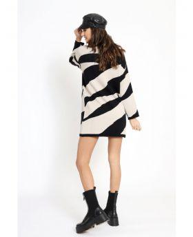 Strick Kleid two Colors -Beige-Taglia Unica