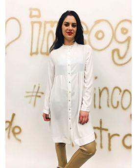 Blusenkleid mit Taschen-Bianco-Weiss-S-M