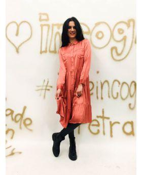 Kleid Satin Volantstep-Fuchsia-Pink-S-M