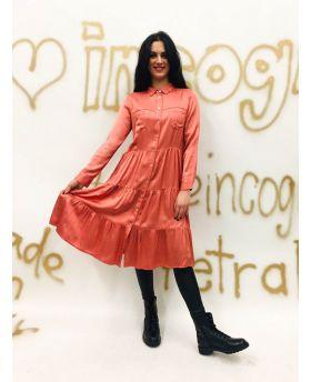 Kleid Satin Volantstep