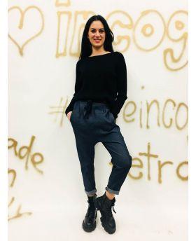 Pluderhose Jeans mit Schlieifenband-Denim-Jeans-XS