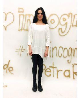 T-Shirt Over-Bianco-Weiss-Taglia Unica