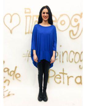T-Shirt Over-Blu-Blau-Taglia Unica
